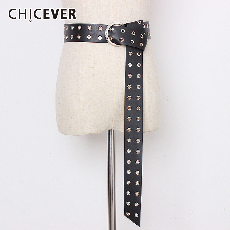 CHICEVER Summer Korean PU Leather Belts For Women Hollow Out Vintage Dresses Accessories Widely Belt Female 2019 Fashion New