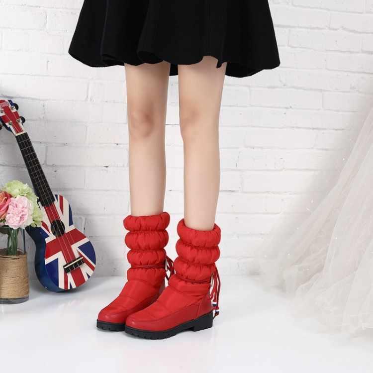 Große Größe 9 10 11 12 stiefel frauen schuhe stiefeletten für frauen damen stiefel schuhe frau winter Falten band und pile warm halten