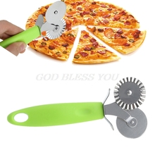 Double Roller Pizza Knife Cutter Pastry Pasta Dough Crimper Wheel Rolling Slicer Pastry Cutting Tools
