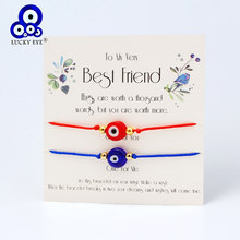 Lucky Eye Braided Evil Eye Wish Bracelet with Card Blue Red Rope Chain Charm Bracelet Adjustable Handmade Women Jewelry CN280