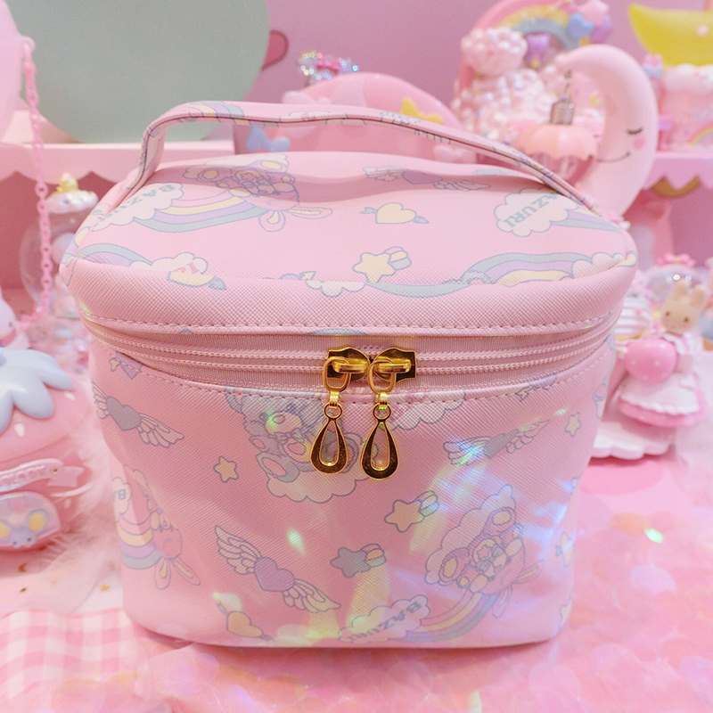 1pc Cartoon Japan Pink Bear Multi-function Handbag Cosmetic Bags For Travel Outgoing Girls Gifts