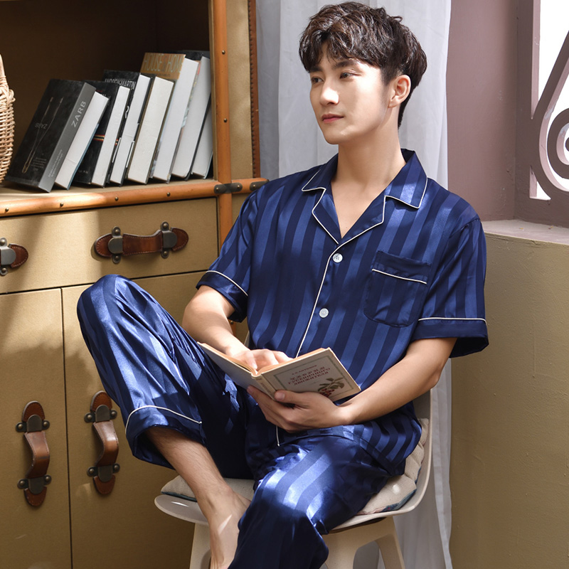 2pieces Summer Pajamas Set For Men Stripe Short Sleeve Thin Man Sleepwear Solid Blue 2020 Nightwear Homewear For Male Pj Set