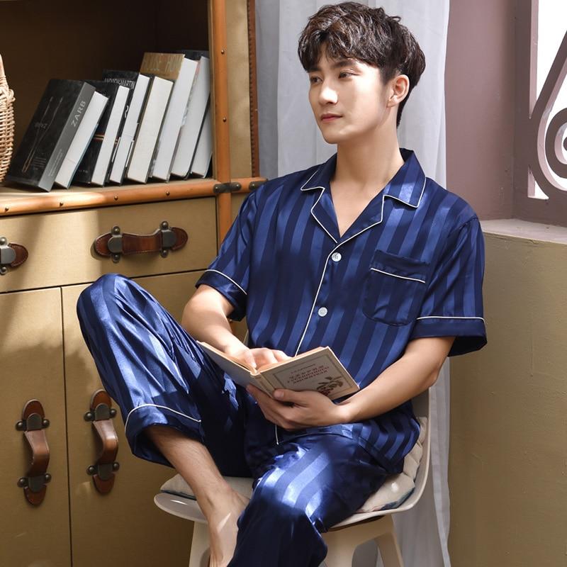 2pieces Summer Satin Pajamas Set For Men Stripe Short Sleeve Man Sleepwear Solid Blue 2020 Nightwear Homewear For Male Pj Set