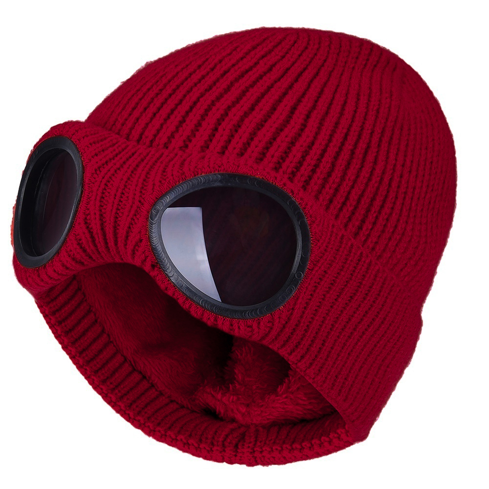 Winter Warm Knit Hats New Fashion Unisex Adult Windproof Ski Caps With Removable Glasses Thicken Sports Multi-function Caps