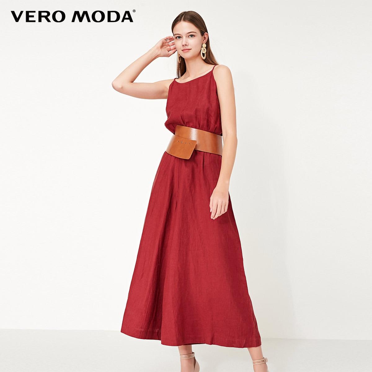Vero Moda Women's 100% Linen Cinched Waist Wide-leg Crop Jumpsuit | 319244508