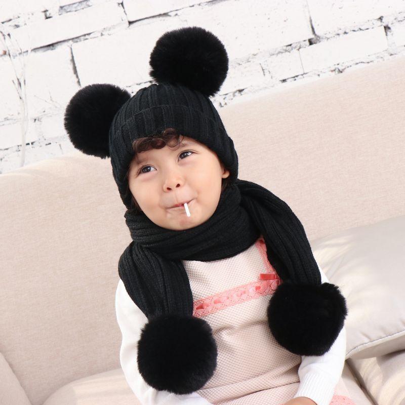 Infant Baby Winter Warm Double Plush Pompom Crochet Skull Cap Hat Long Scarf Set