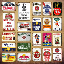 Blijf Kalm Drink Bier Wijn Metalen Poster Whiskey Plaque Vintage Emaille Bord Wall Decor Voor Bar Pub Man Cave Decoratieve platen YI-073(China)