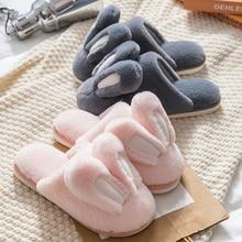 Leuke Bunny Designer Home Bont Slipper Voor Vrouwen Warm Pluche Winter Slaapkamer Koppels Schoenen Huis Meisjes Konijn Harige Vrouwen SlippersSlippers