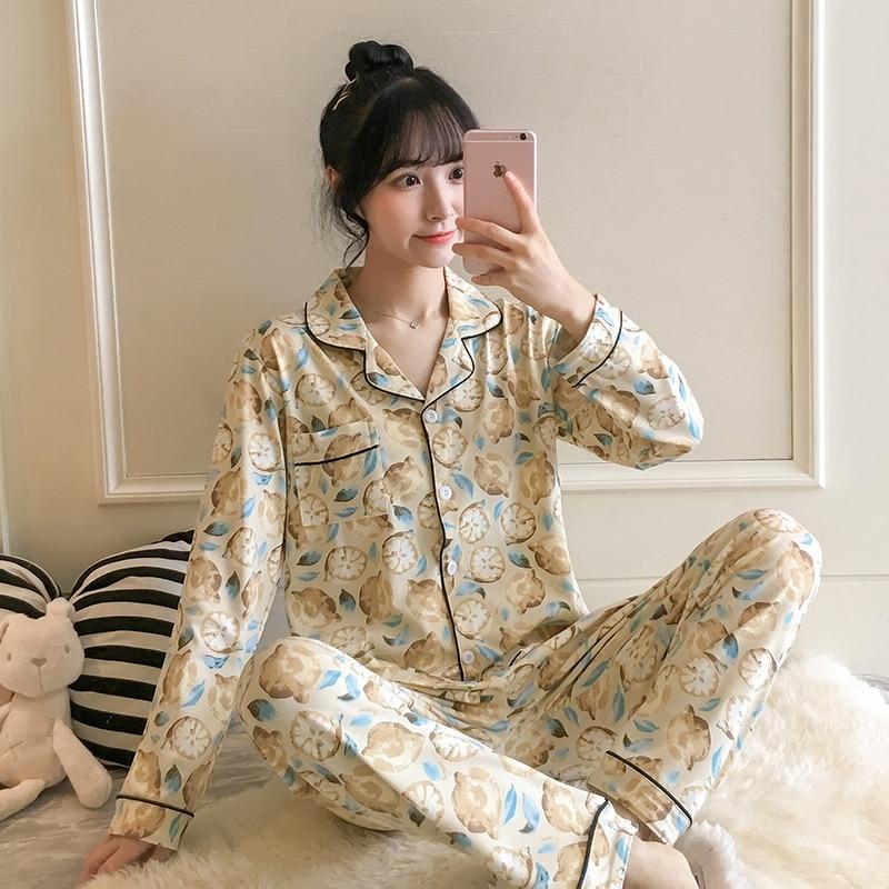 Women's Sleepwear Lemon Print Homewear Elegant Long Sleeve Homewear Lightweight Soft Pijamas Women Winters Clothing