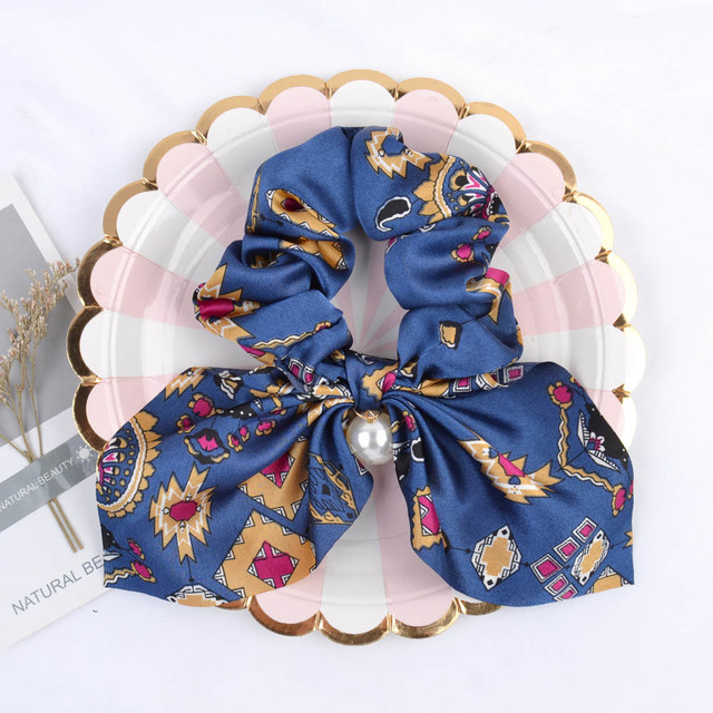 New Chiffon Bowknot Elastic Hair Bands For Women Girls Solid Color Scrunchies Headband Hair Ties Ponytail Holder Hair Accessorie 2