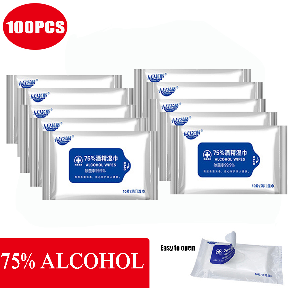 100 Pcs 75% Alcohol Wet Wipe Disposable Alcohol Disinfection Cotton Pads Non-woven Sanitized Wipes Wash Hands Skin Cleaning Care