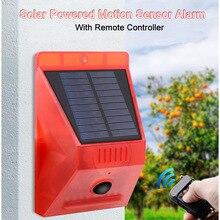 2020 새로운 태양 적외선 모션 센서 감지기 원격 제어 사이렌 스트로브 알람 방수 129dB 홈 야드 야외에 대 한 큰 소리로