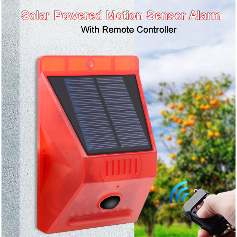 2020 New Solar Infrared Motion Sensor Detector Remote Control Siren Strobe Alarm Waterproof 129dB Loud For Home Yard Outdoor