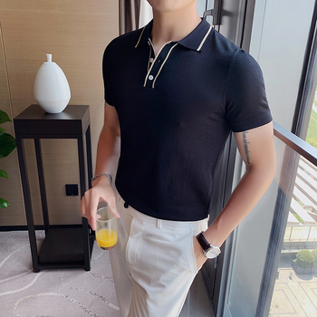 Playera Polo Hombre Summer Men's Short-sleeved Knitted Polo Shirt Contrast Color Collar British Slim Lapel Ice Silk T-shirt фото