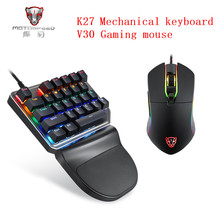 цена на Motospeed K27 Mechanical keyboard Motospeed V30 Gaming Mouse USB Wired Single handed Blue Switch Backlight For Computer Notebook
