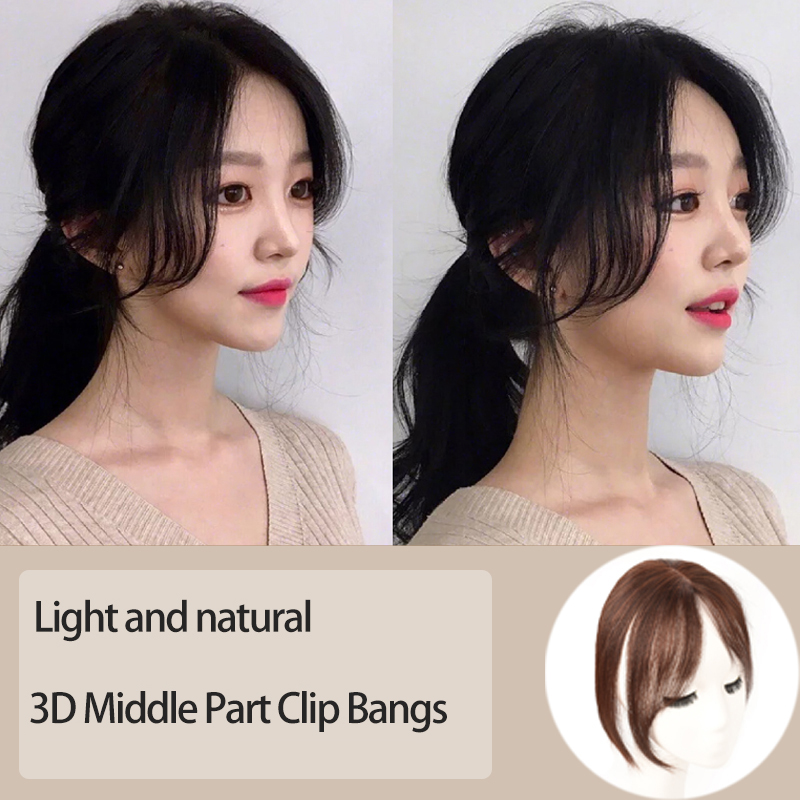 MUMUPI 3D Middle Part Bangs Side Bangs Clip In Hair Extension Women Bang Synthetic hair Top Front Hair Pieces