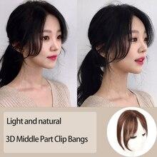 Parte do meio 3d franja lado franja grampo na extensão do cabelo feminino bang cabelo sintético parte superior frente cabelo peças mumupi