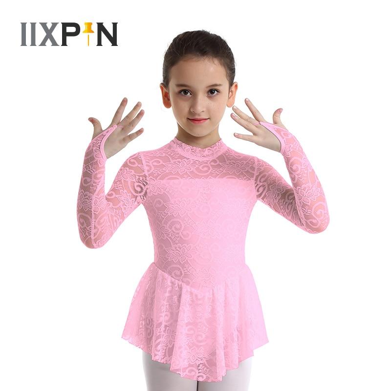Ballet On Ice Figure Skating Dress Girls Leotard Dress Long Sleeves Lace Ice Skating Roller Skating Ballet Dress Dance Leotard