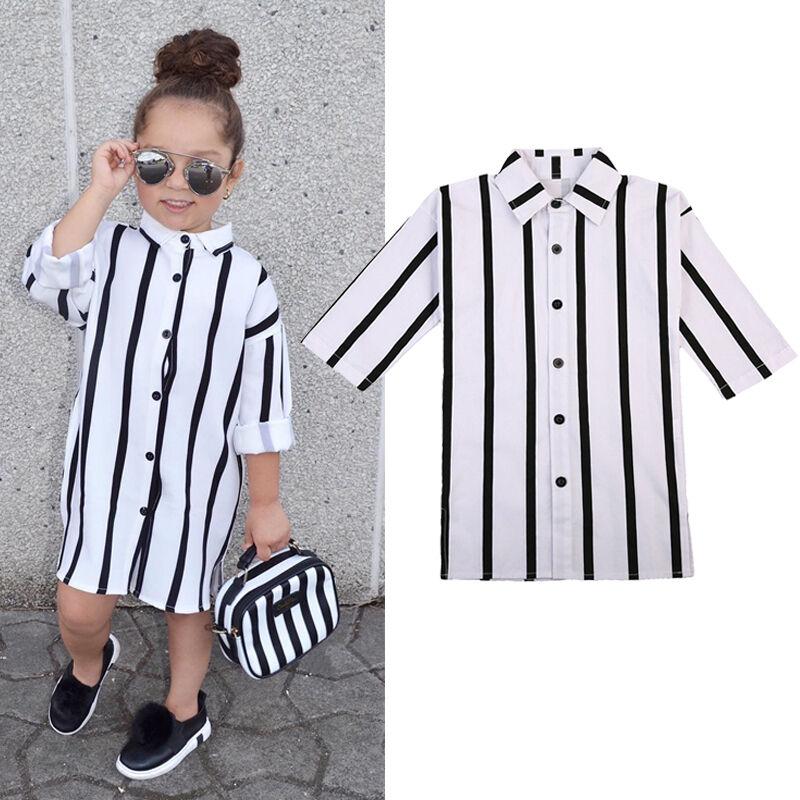 1-6Y Girls Dress Long Sleeve Buttons   Shirt   Dresses Kids Clothes Summer   Shirts   UK