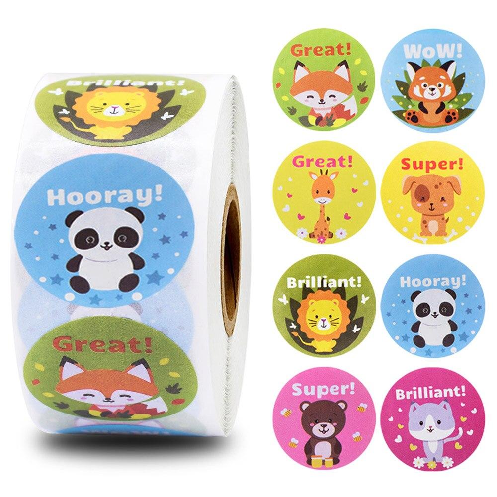 500pcs Teacher Reward Stickers Cute Animal Stickers School Motivational Stickers For Students Kids Encouragement Word