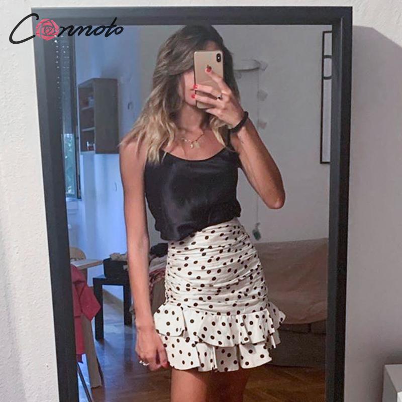 Conmoto Women Vintage Polka Dot Skirt 2019 Autumn Winter High Waist Bodycon Ruffle Mini Skirt Fashion White Ruched Skirt Faldas