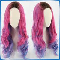 Peluca sintética para niñas y adultos Con rizos largos de cómic de color azul rosa púrpura Gradual para Cosplay Con 3 descendentes de película