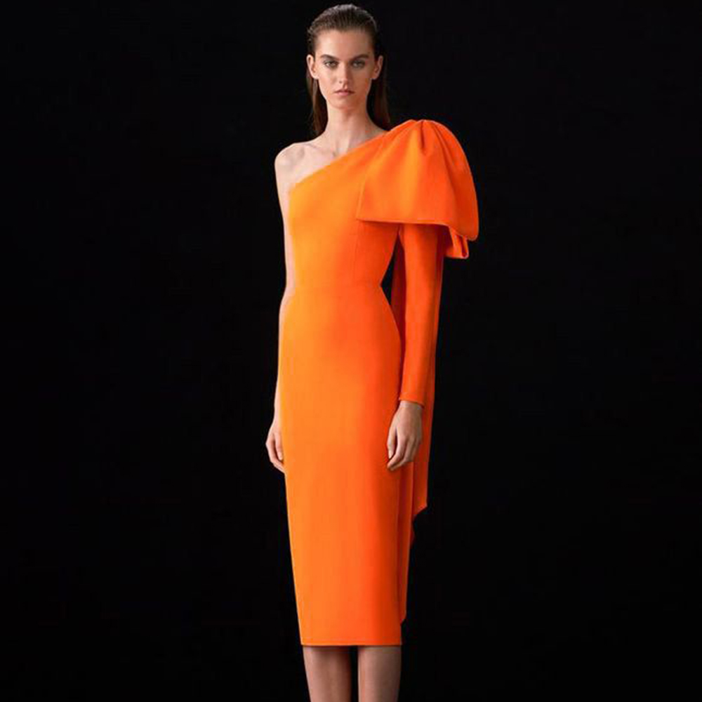 Ocstrade Orange Bowknot Long Elegant Bandage Dresses Sexy One Shoulder Rayon Bandage Dress Club Midi Bandage Dress Split