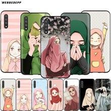 Webbedepp sevimli müslüman İslam kız durumda Samsung Galaxy S7 S8 S9 S10 artı kenar not 10 8 9 A10 a20 A30 A40 A50 A60 A70