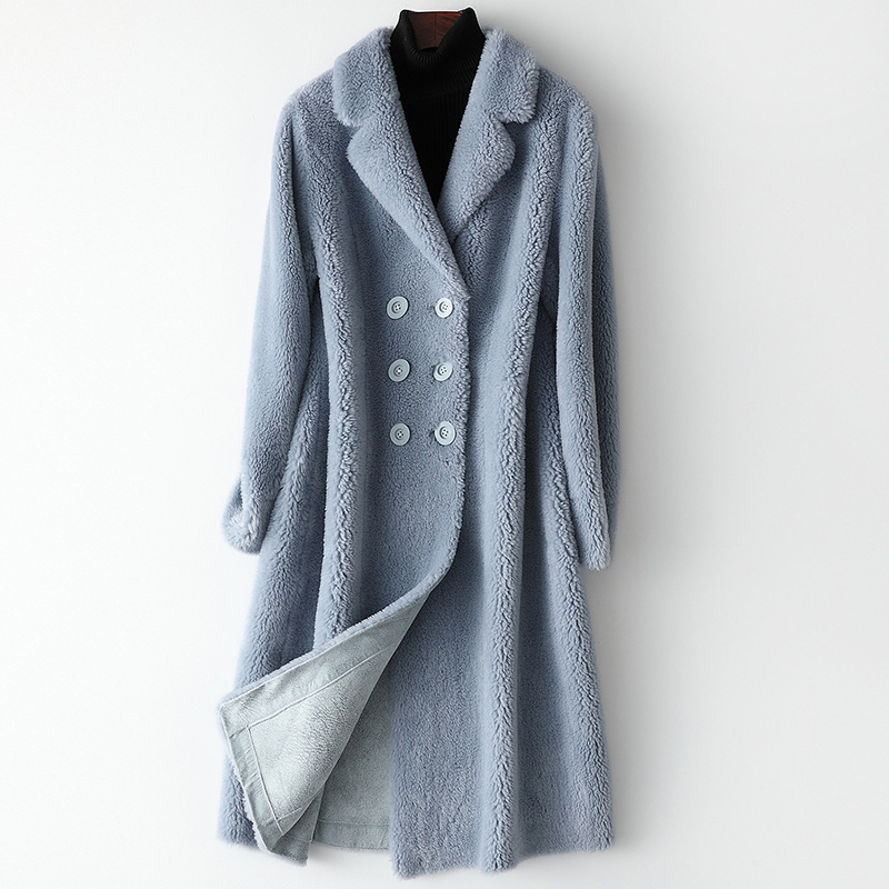 Winter Long Beige Faux Fur Coat Thick Warm High Quality Sky Blue Solid Pockets Wool Fashion Coats Jackets Casual Pockets Outwear