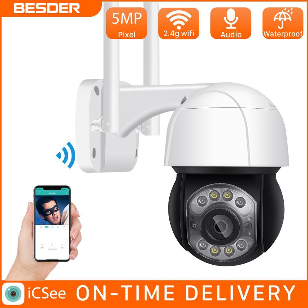 BESDER 5MP Mini 4X Wi-fi PTZ Câmera Speed Dome IP Câmera de Segurança Ao Ar Livre Zoom Digital AI Humano Detecção de Alarme DIY voz CCTV