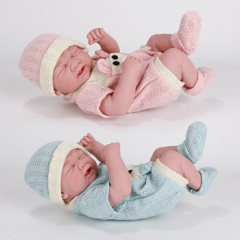 35CM New Baby Dolls Reborn Bebe Toys Lying Down Shape Silicone Full Body Toddler Newborn