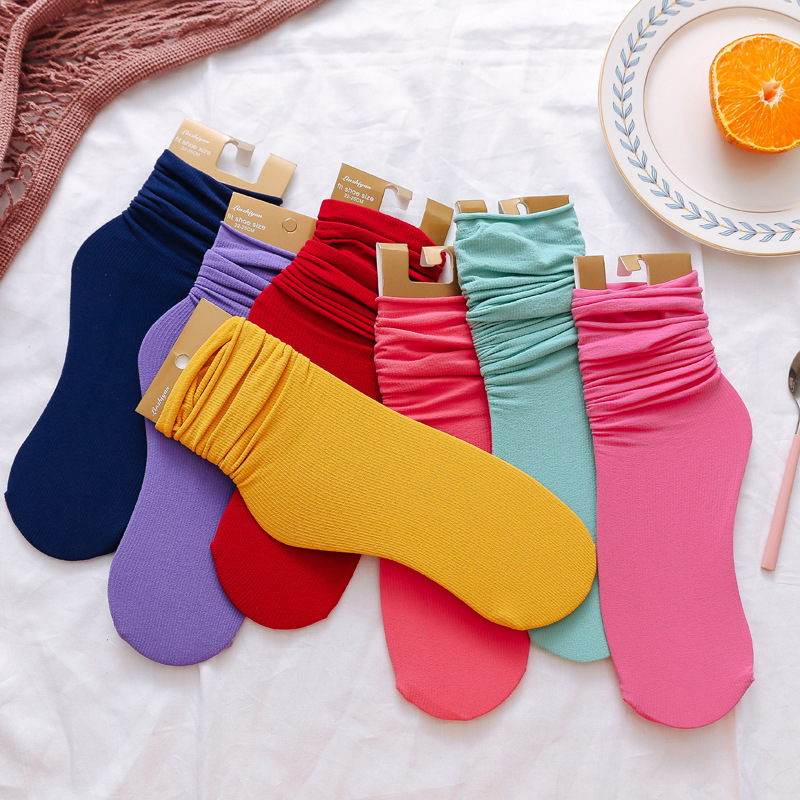 Velvet Pile-pile Of Fluorescent Color Thin Section Natural Edge Two Wear Women Socks Candy Color Silk Ladies Socks Woman Femal