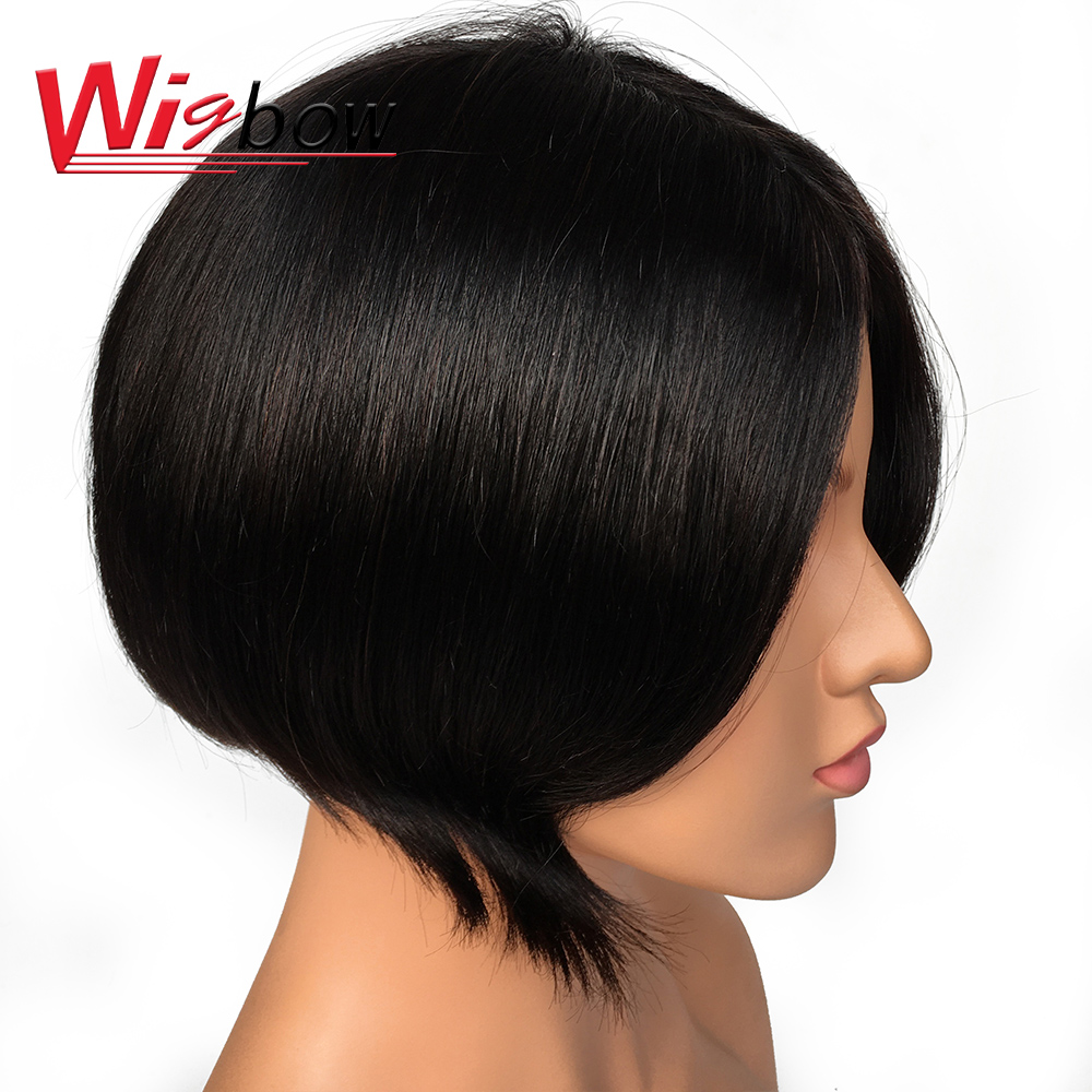 Straight Short Wig For Black Women 100% Remy Brazilian Human Hair Natural Color Pre Plucked With Baby Hair Fast Ship