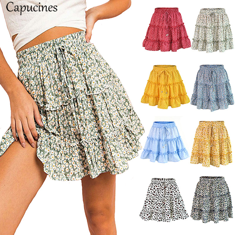 Capucines Boho Summer Fashion Floral Print Frills Mini Skirt Sexy High Waist A Line Skirts Womens Beach Holidays Casual Skirts