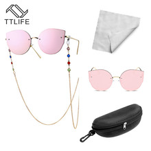 TTLIFE Pink Women Sunglasses Brand Designer Gold Glasses Chain Case Cloth Combination Big Discount Gift YJHH0321