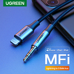 Ugreen Mfi Lightning untuk 3.5 Mm AUX Kabel untuk I Phone 11 Pro Max X 7 3.5 Mm Jack Male 1M Kabel Mobil Converter Headphone Audio Adapter
