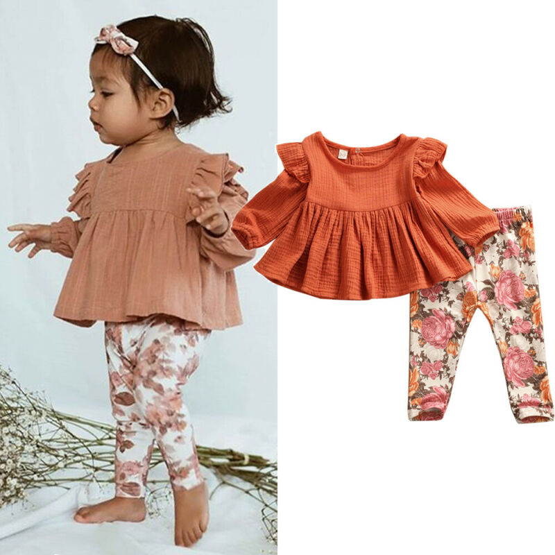 Newborn Toddler Baby Girls Clothes Ruffle Tops Shirt+Leggings 2Pcs Outfits Set