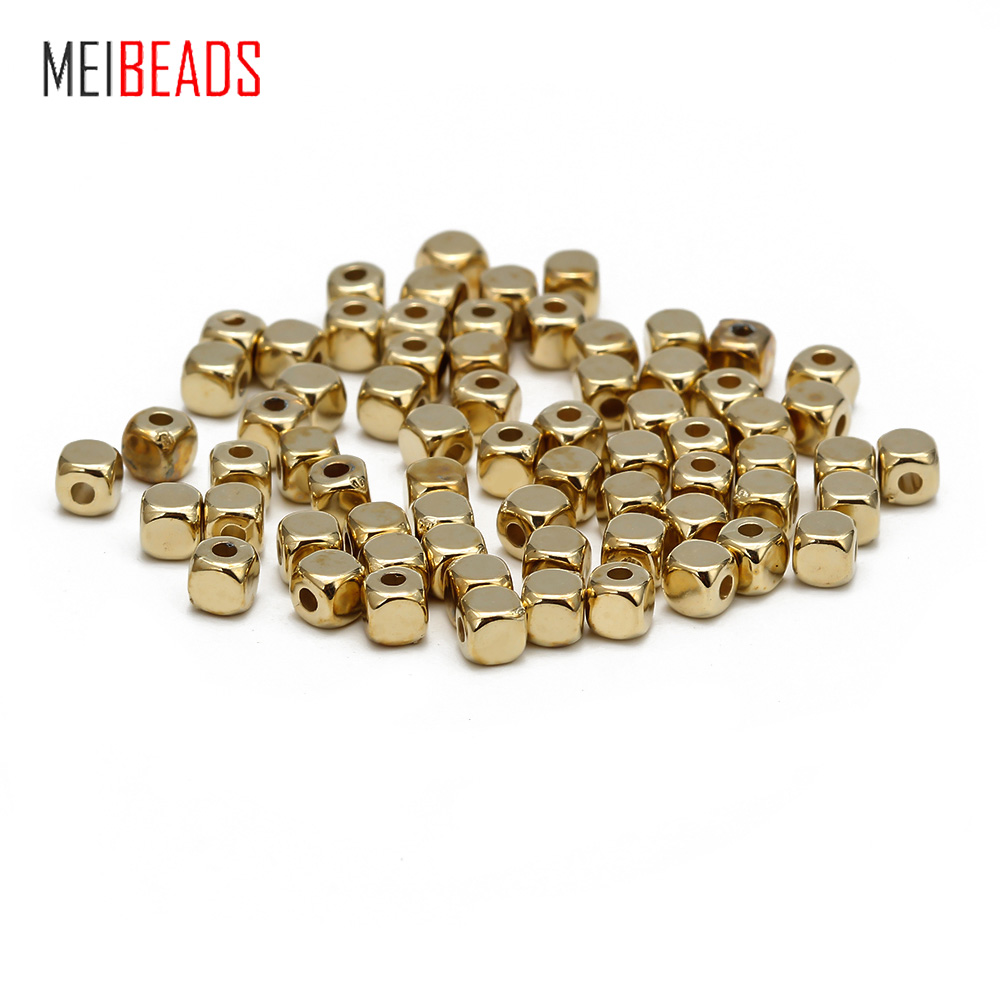 Meibeads 200pcs/lot CCB Gold And Silver Color Square Shaped Spacers Loose Beads Accessories Fit DIY Bracelet Necklace EY661