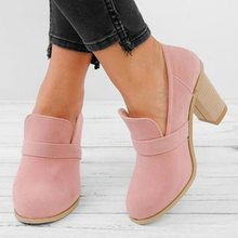 Women Fashion Suede Leather Chunky High Heel Shoes 2019 New Solid Color Platform Round-toe Casual Shallow Pumps Large Size(China)