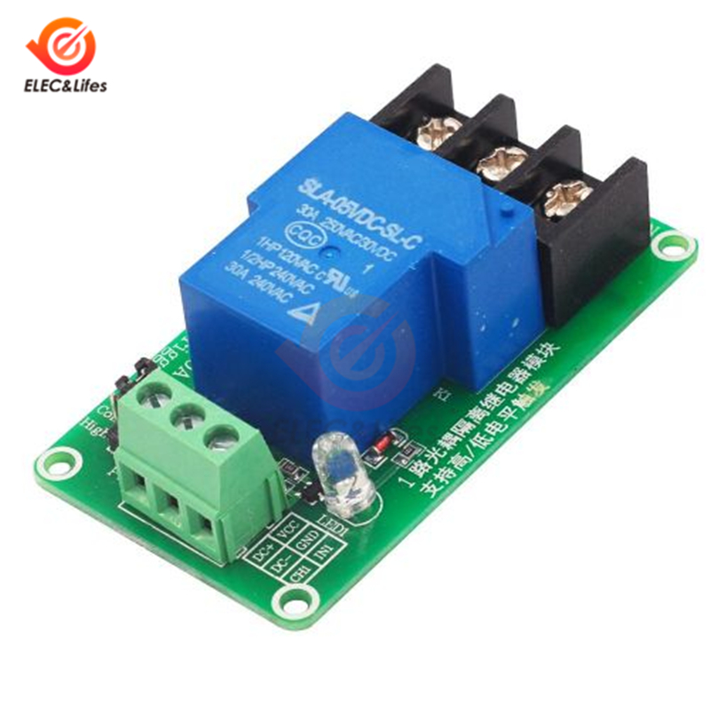 5V//12V//24V 1 Channel High//Low Trigger Relay Module With Optocoupler Isolation