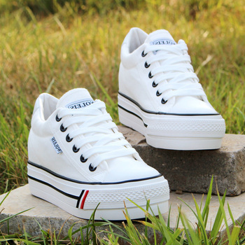 Women Hidden Heel Platform Wedge Canvas Shoes Outdoor Breathable Trainers Female Sneakers Woman Casual