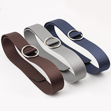 Fashion Canvas Belt for Women Soft Long Adjustable Waist Belts Solid Color Female Waistband Round Buckle Ring Sport Unisex Strap