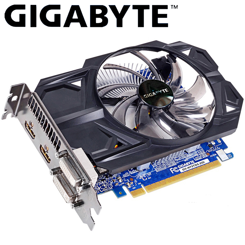 GIGABYTE Graphics Card GTX 750 Ti With NVIDIA GeForce Gtx 750 Ti GPU 2GB GDDR5 128 Bit For PC Hdmi Dvi Video Card Used VGA Cards