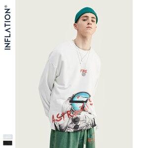 Image 2 - INFLATION ASTRONAUTEN Drucken Raum Elemente Fleece Männer Sweatshirt In Weiß Und Schwarz Männer Lose Fit Streetwear Männer Sweatshirt 9621W