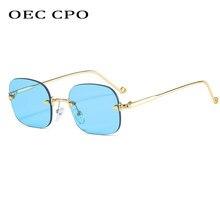 OEC-MANAGEMENT CPO Kleine Randlose Platz Sonnenbrille Frauen Marke Neue Mode Punk Sonnenbrille Männer Rahmenlose Blau Klare Linse Gläser UV400 O901