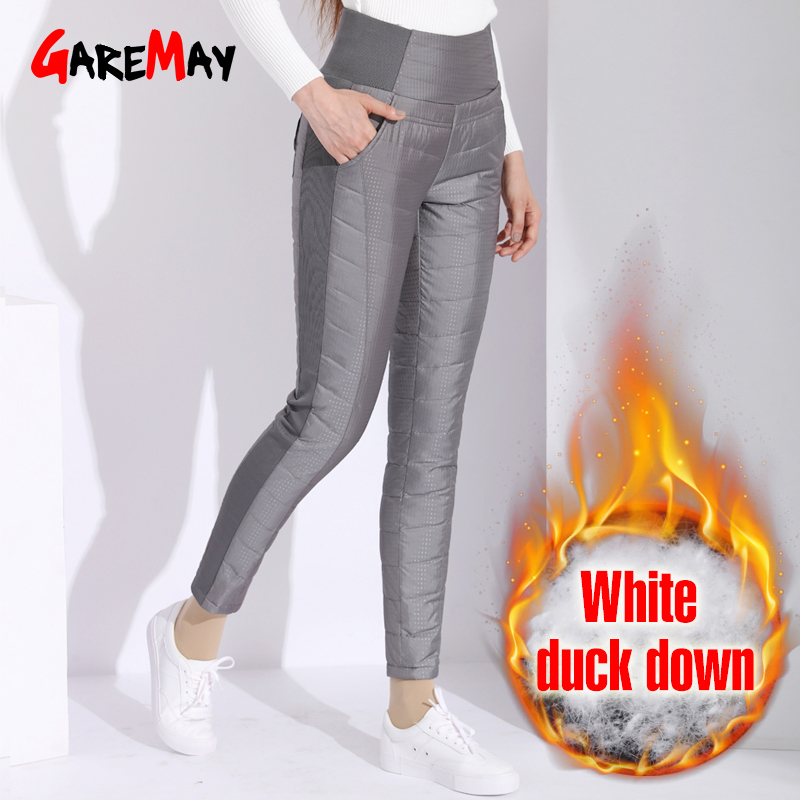 Warm-Pants Trousers Classic Black Garemay High-Waist Plus-Size Women Winter for Female