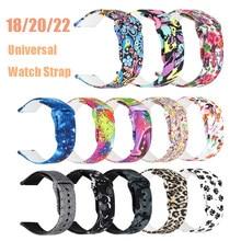 20 22mm banda para samsung galaxy relógio 46mm silicone cinta esportiva para garmin vivoactive 3 correa pulseira para xiaomi relógio 18mm