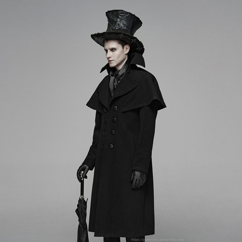 PUNK RAVE Mens Gothic Dark Cloth Shoulder Cloak Detective Mystery Simple Coat Club Stage Performance Fall Winter Mens Jackets Lahore