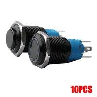 Botón LED de óxido de aluminio y Metal, indicador de potencia, botón momentáneo, botón de bloqueo, cabeza alta, 12/1619/22mm, 10 Uds.