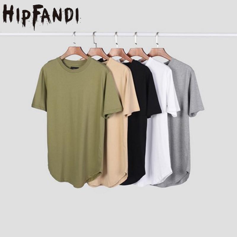 HIPFANDI New Streetwear Men Extended Kanye West T-shirt Cotton Swag Mens T Shirts Solid Hip Hop T Shirt Men's Tees Top